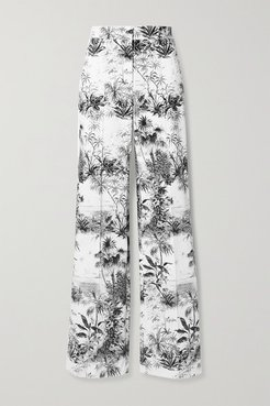 Printed Cotton-blend Twill Wide Leg Pants - Ivory