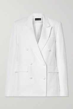 Clark Oversized Double-breasted Linen And Cotton-blend Twill Blazer - White