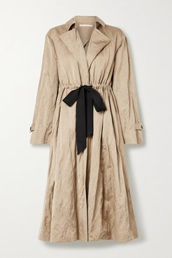 Tie-detailed Washed-sateen Trench Coat - Beige
