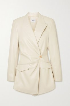 Blair Gathered Double-breasted Vegan Leather Blazer - Off-white