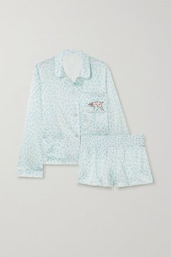 Atlanta De Cadenet Taylor Embroidered Leopard-print Satin Pajama Set - Sky blue