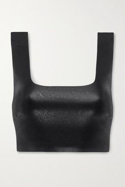 Cropped Faux Stretch-leather Top - Black