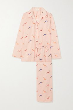 Swimmers Printed Cotton-voile Pajama Set - Pink