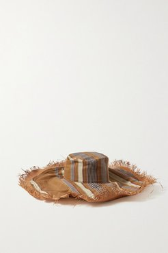 Fringed Striped Silk And Cotton-blend Hat - Beige