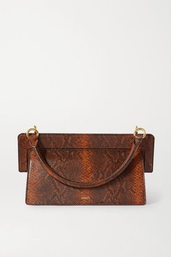 Ada Snake-effect Leather Tote - Brown