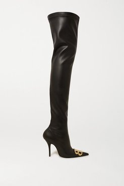 Logo-embellished Faux Leather Thigh Boots - Black