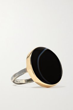 Evil Eye 14-karat Gold And Sterling Silver Agate Ring