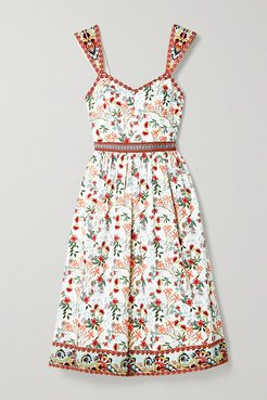 Alice Olivia - Portia Floral-print Cotton-blend Poplin Midi Dress - White