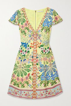 Alice Olivia - Hadley Floral-print Crepe De Chine Mini Dress - Yellow