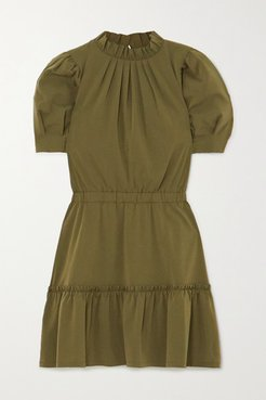 Alice Olivia - Vida Ruffled Modal-blend Mini Dress - Army green