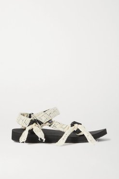 Trekky Fun Crocheted Lace And Canvas Platform Sandals - Cream