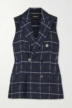 Gerno Double-breasted Checked Cotton And Silk-blend Vest - Navy