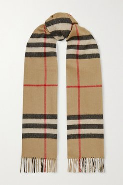 Fringed Checked Cashmere Scarf - Brown