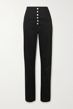 Palo Cotton-blend Twill Tapered Pants - Black
