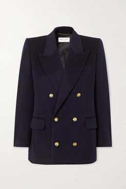 Double-breasted Wool And Cashmere-blend Blazer - Navy