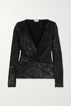 Sequined Jersey Blouse - Black
