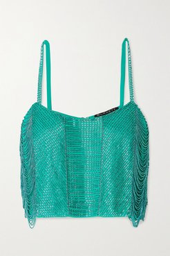 Cropped Beaded Georgette Camisole - Jade