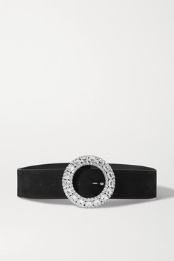 Crystal-embellished Suede Belt - Black