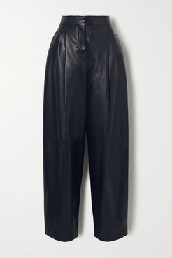 Faux Leather Tapered Pants - Midnight blue
