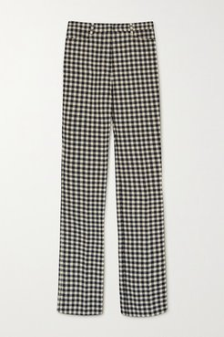 Checked Woven Flared Pants - Cream