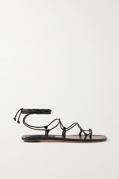 Knotted Leather Sandals - Black