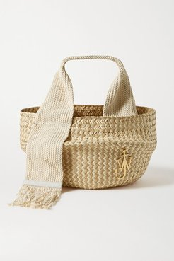 Basket Leather-trimmed Woven Raffia Tote - Beige