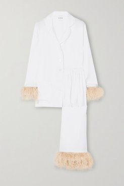 Party Feather-trimmed Crepe De Chine Pajama Set - White