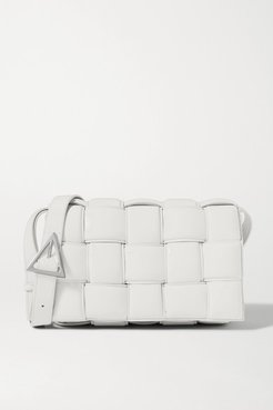 Cassette Padded Intrecciato Leather Shoulder Bag - White