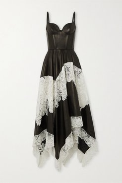 Leather And Cotton-blend Guipure Lace Gown - Black