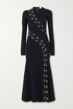 Lace-up Leather-trimmed Ribbed-knit Midi Dress - Navy