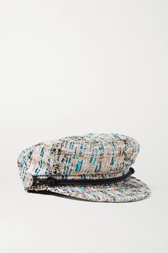 New Abby Leather-trimmed Metallic Bouclé-tweed Cap - White