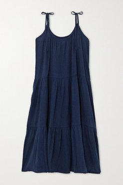Daisy Tiered Crinkled Cotton-gauze Dress - Storm blue