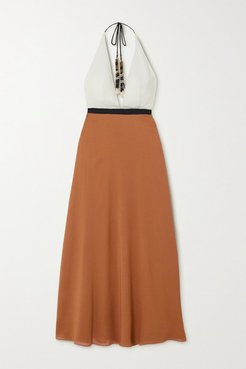 Palma Color-block Silk-crepe Halterneck Maxi Dress - Tan