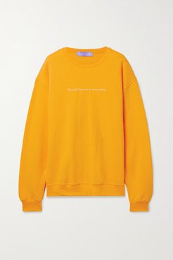Sun In Eyes Embroidered Cotton-blend Jersey Sweatshirt - Saffron