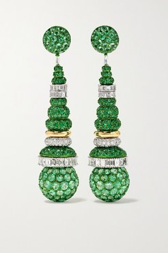 18-karat White And Yellow Gold, Emerald And Diamond Earrings - White gold