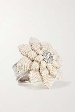 18-karat Yellow And White Gold, Pearl And Diamond Ring