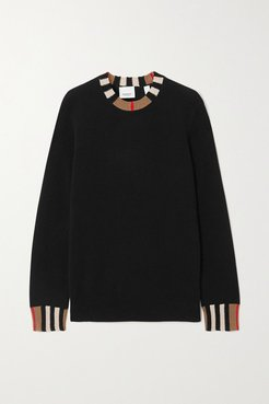 Striped Cashmere-blend Sweater - Black