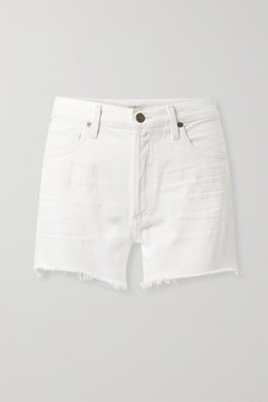 Marlow Distressed Organic Denim Shorts - White