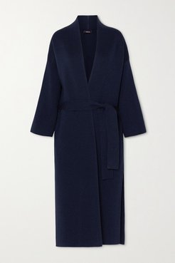 Belted Wool And Silk-blend Coat - Navy
