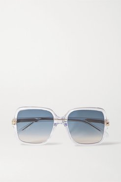 Oversized Square-frame Acetate Sunglasses - Clear
