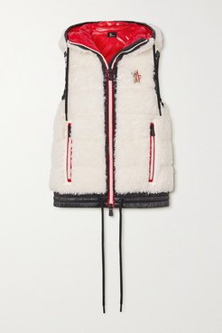 Maglia Hooded Shell-trimmed Faux Shearling Down Vest - White