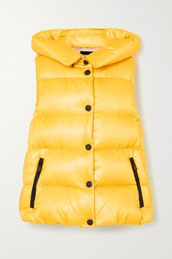 Resy Hooded Quilted Shell Down Vest - Yellow