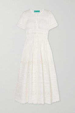 Camilla Guipure Lace-trimmed Cotton Maxi Dress - White