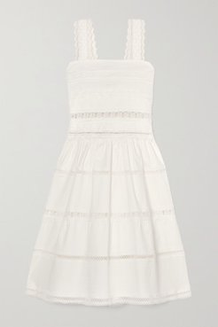 Maya Shirred Crocheted Lace-trimmed Cotton-blend Dress - White