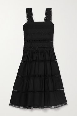 Maya Shirred Crocheted Lace-trimmed Cotton-blend Dress - Black