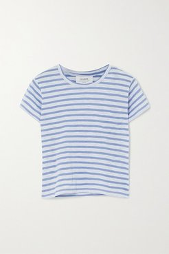 Rickie Cropped Striped Cotton-jersey T-shirt - Light blue