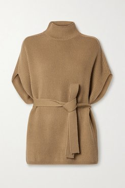 Leisure Fulmine Belted Ribbed Wool Turtleneck Poncho - Tan