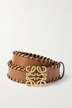Whipstitched Leather Belt - Tan