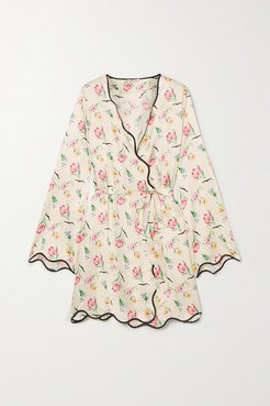 Anabelle Floral-print Crepe Robe - Cream