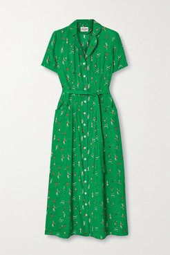 Maria Belted Printed Silk Crepe De Chine Midi Dress - Green